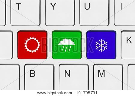 Computer keyboard with Weather key - technology background