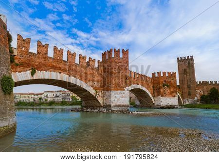 Ponte Pietra bridge in Verona - Italy - architecture background