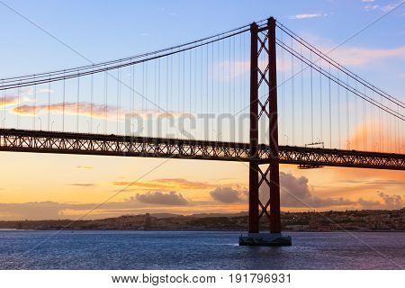 Lisbon and 25th of April Bridge - Portugal - architecture background