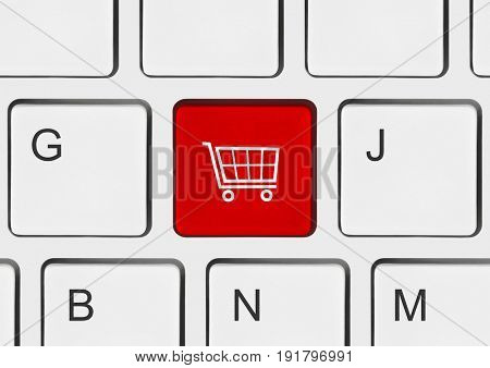 Computer keyboard with shopping key - internet concept