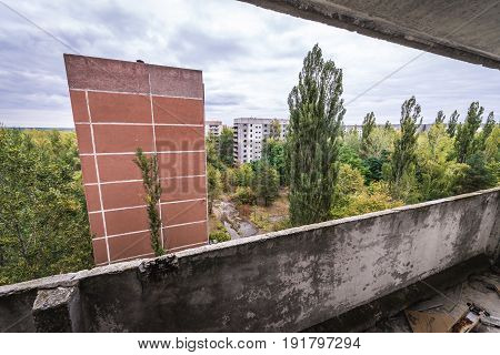 Apartment houses in abandoned Pripyat city in Chernobyl Exclusion Zone Ukraine