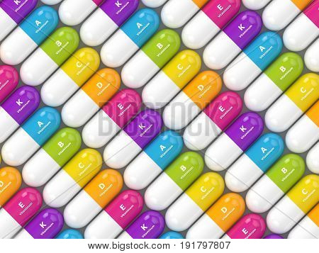 3D Rendering Of Vitamin Pills In Row