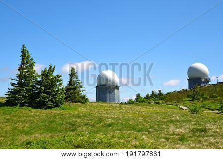GROSSER ARBER, GERMANY - JUNE 13  2017: Radar on peak in Bayerische Wald. National park in Bavaria.