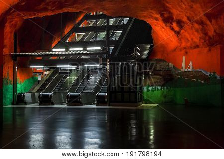 STOCKHOLM, SWEDEN - JUNE 27, 2016: These are escalators of the Solna-Centrum subway station.