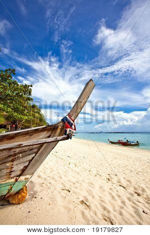 Old Thai boats at the beach. Phi Phi island. Thailand