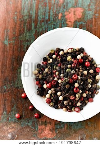 Still life with assorted peppercorns