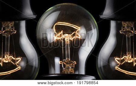 luminescent incandescent electric lamps in receptacle isolated on black background