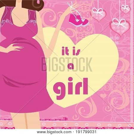 It's A Girl! - pregnant woman card , vector illustration