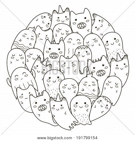 Circle shape pattern with cute ghosts for coloring book. Vector illustration
