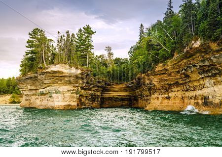 Rock Formations at Pictured Rocks National Lakeshore on Upper Peninsula, Michigan