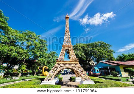 Eiffel tower replica in Mini Siam Park at Pattaya Chonburi province Thailand. June 3 2017. Mini Siam is a famous miniature park attraction. It had been constructed in 1986