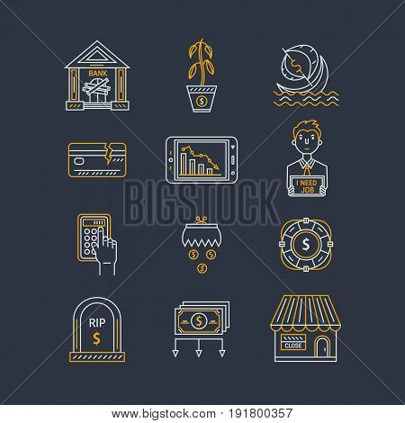 Vector economic and financial crisis icons set  in linear style.  Financial bankruptcy  and unemployment concepts isolated on background. Infographics design elements.