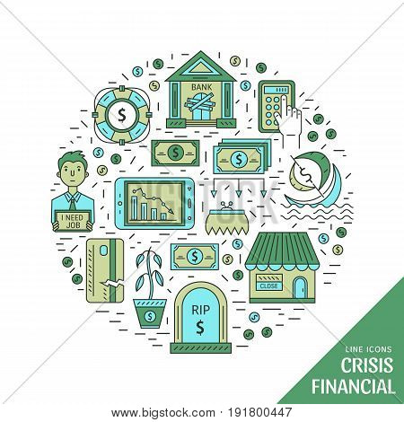 Vector economic and financial crisis icons set  in circle. Financial bankruptcy  and unemployment concepts in linear style isolated on white background. Infographics design elements.