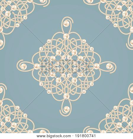 Elegant golden knot sign. Blue and beige pastel seamless pattern beautyful calligraphic flourish with pearls. Vector