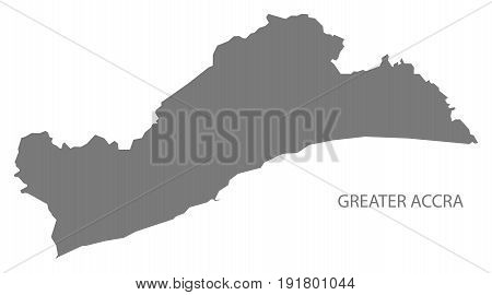 Greater Accra region of Ghana map grey illustration silhouette