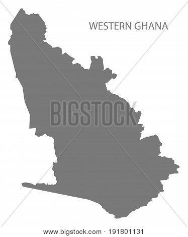 Western Ghana region map grey illustration silhouette