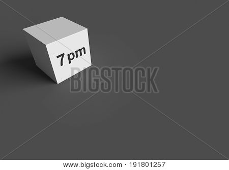 3D RENDERING WORDS 7 pm ON WHITE CUBE, STOCK PHOTO