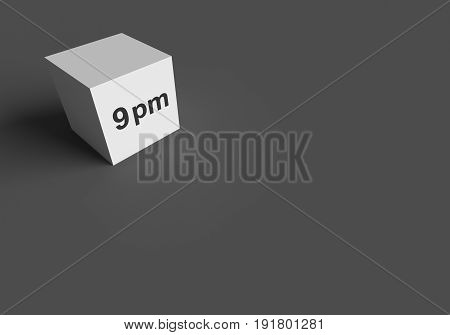 3D RENDERING WORDS 9 pm ON WHITE CUBE, STOCK PHOTO