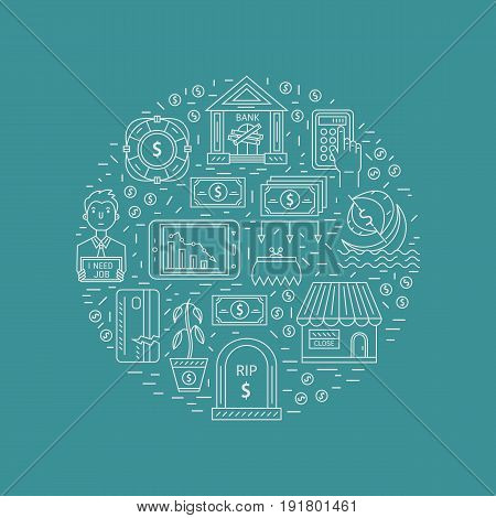 Vector economic and financial crisis icons set  in circle. Financial bankruptcy  and unemployment concepts in linear style isolated on background. Infographics design elements.