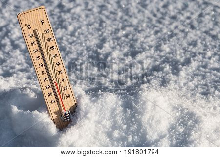 thermometer with temperature in the snow in the winter