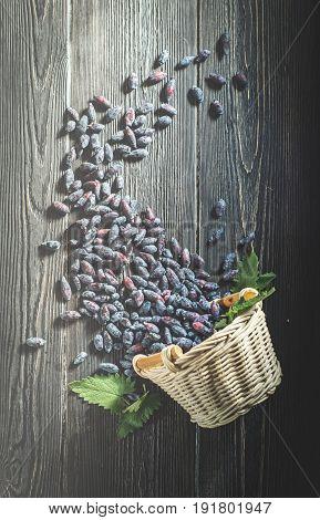 top view overturned basket of fresh berries of honeysuckle on dark boards