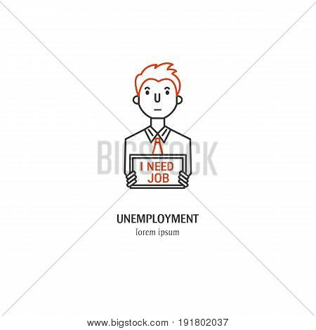 Vector unemployment symbol isolated on white background. Man with a sign icon in linear style.
