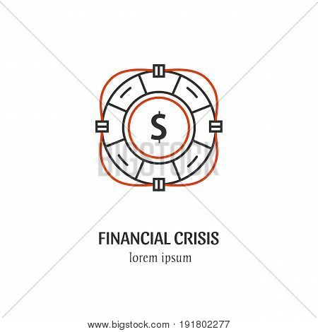 Vector financial crisis  symbol isolated on white background. Life ring icon in linear style.