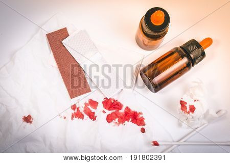 Top View. Fresh Bleeding Wounds Or Blood On Tissue Paper With First Aid Supplies, First Aid Equipmen