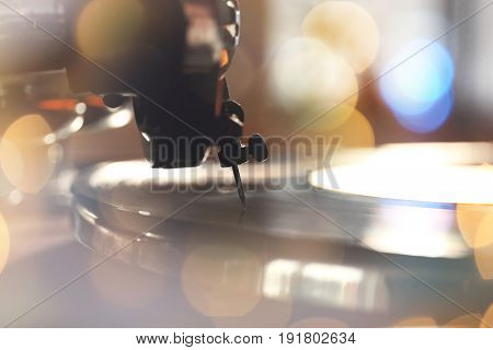 Old gramophone player, closeup. Concept of Christmas music and songs