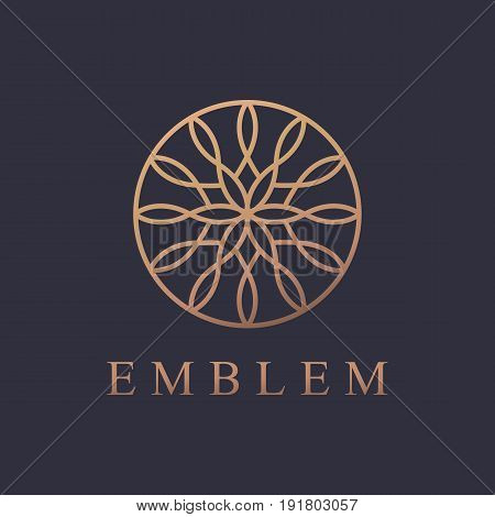Round logo. Business icon. Ornament emblem. Cosmetics, Spa, Beauty salon, Decoration, Boutique logo. Luxury, Business, Royal Jewelry, Hotel, Premium Logo. Interior Icon. Resort and Restaurant Logo.