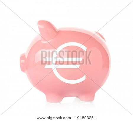 Piggy bank with symbol of euro currency on white background. Financial savings concept