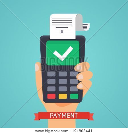 Pos terminal in flat style. Pos payment. Flat design modern vector illustration concept.