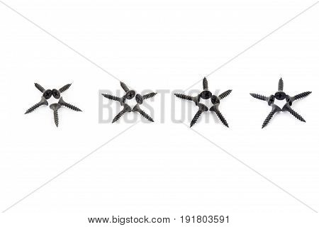 Five Stars In A Raw Laid Out With Black Oxidized Self-tapping Screw Isolated On White
