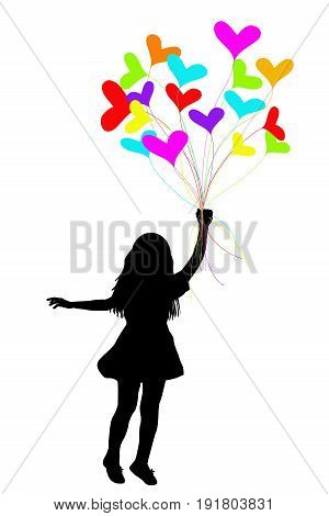 Girl silhouette dragged by hearts on white background