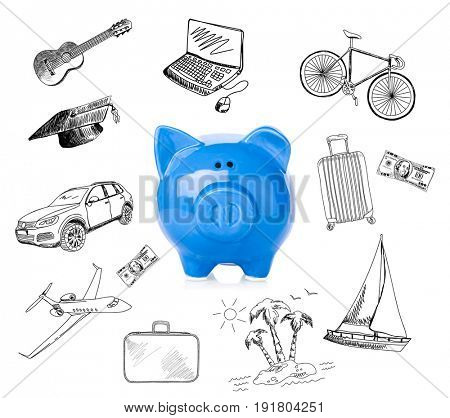 Piggy bank and different drawings on white background. Concept of money and dream