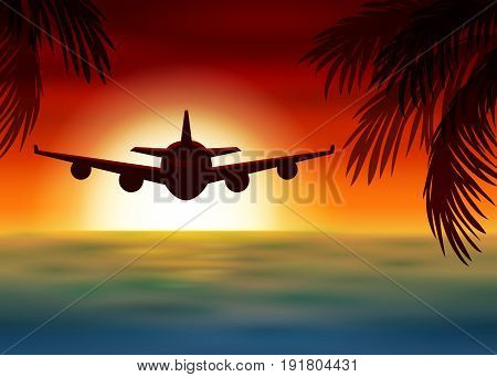 Vector illustration of airplane flies over the sea at sunset