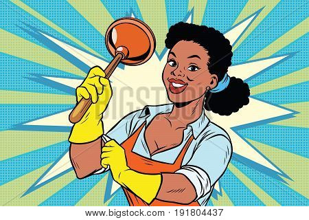 Cleaner with a plunger. African American people. Comic cartoon style pop art retro color picture illustration