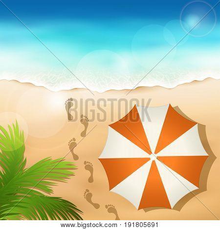 Vector illustration of a sandy beach with a beach umbrella
