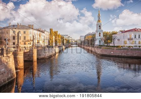 Kryukov canal bell tower of St. Nicholas Naval Cathedral St. Petersburg Russia