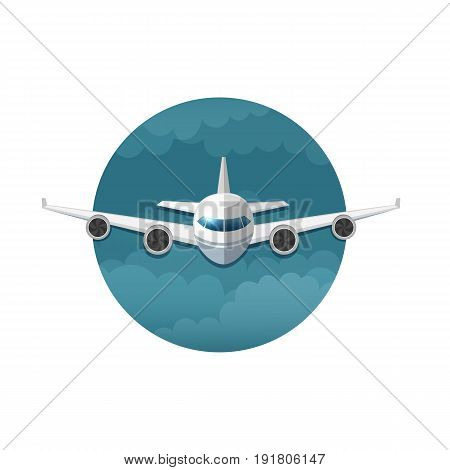 Vector icon of airplane on white background
