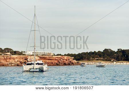 Cala Saona bay in Formentera. Balearic Islands. Spain