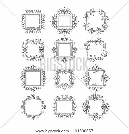 Vector set of flower frames logo design. Monograms and emblems  in trendy liner style isolated on white background. Floral and nature motifs. Perfect for flower shop, nature cosmetics, jewelry shop.