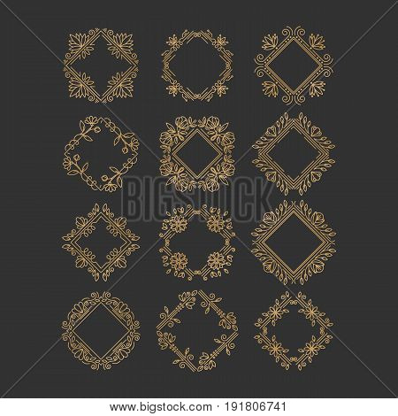 Vector set of flower frames logo design. Monograms and emblems  in trendy liner style isolated on background. Floral and nature motifs. Perfect for flower shop, nature cosmetics, jewelry shop.