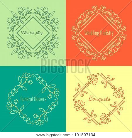 Vector flower logo design template in trendy linear style - floral and geometrical  frame with  space for text. Decorative concept for wedding service, flower shop or funeral service.