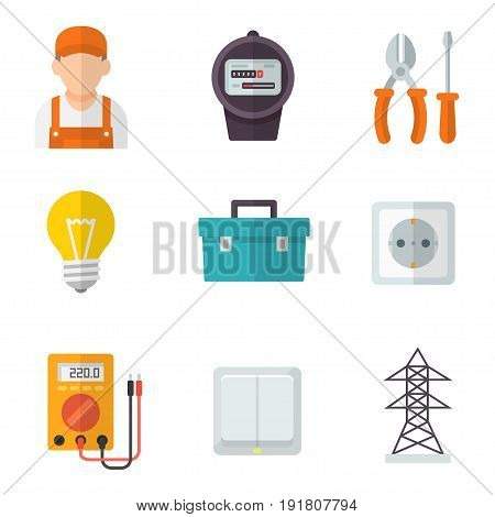 Electrician service icon set. Innovative and reliable installation, professional electricity support. Vector flat style cartoon illustration isolated on white background