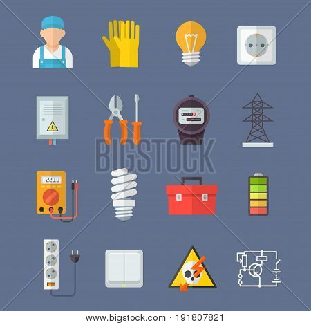 Electrification icon set, powering by electricity, modern service and safe technologies. Vector flat style cartoon illustration isolated on dark background