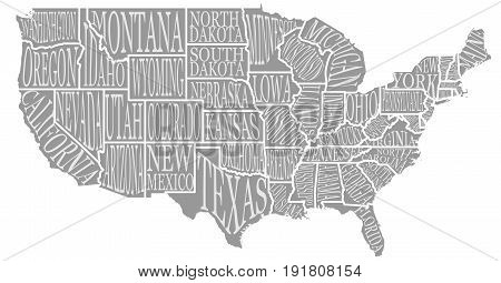 Blank similar high detailed decorative USA map on white background. United States of America country with lettering text state names inscriptions. Vector template info graphics. Graphics illustration.