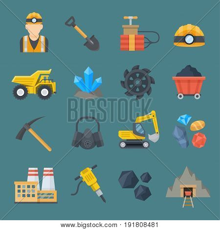 Minig industry icon set. Professional supply industries with natural resources, variety of metals, minerals, diamonds. Vector flat style cartoon illustration isolated on dark blue background
