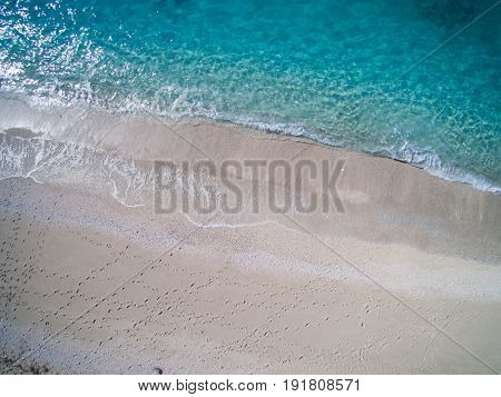 Aerial drone view of Kathisma beach in Lwfkada island Greece
