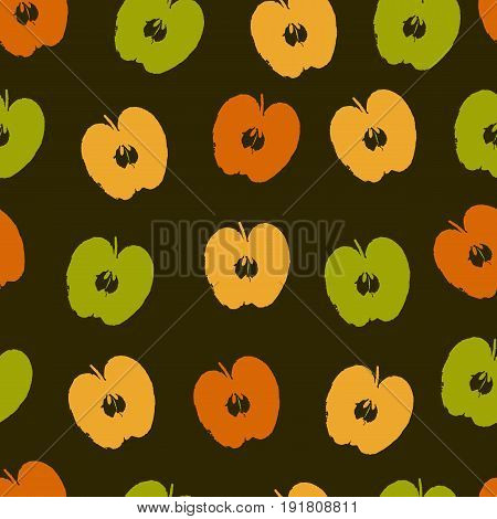 Vector seamless pattern with colorful apple symbols.  Fruit background. Perfect for apple packaging design or wallpaper, web backdrop, surface textures.